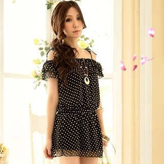 Buy Tokyo Fashion Off-Shoulder Polka Dot Chiffon Dress 1023000274