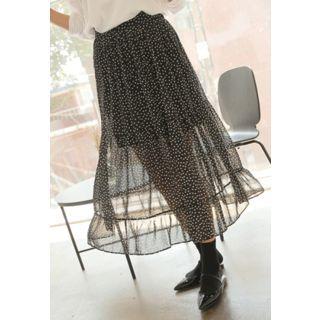 Band-Waist Dotted Long Skirt 1061889117