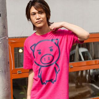 Picture of Buden Akindo Print Crewneck T-Shirt - BIG Beautiful Pig 1022724355 (Buden Akindo, Mens Tees, Japan)