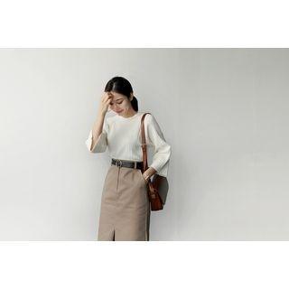 Slit-Sleeve Pleated Knit Top 1053894231