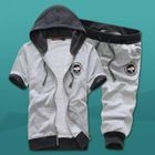 Set: Short-Sleeve Embroidered Hooded Jacket + Cropped Sweatpants 1596