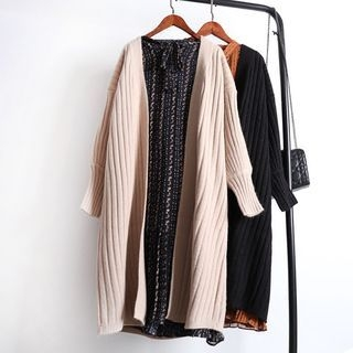 Plain Long Ribbed Cardigan 1064677379