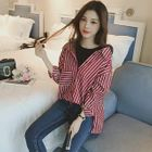 Pinstripe Long-Sleeve Mock Two-piece Blouse 1596