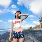 Swim Set: Sleeveless Lettering Top + Printed Shorts + Midi Skirt 1596