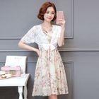 Set: Lace Light Jacket + Floral Print Sleeveless Dress 1596
