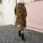 Asymmetric Ruffle Floral Chiffon Long Skirt 1596