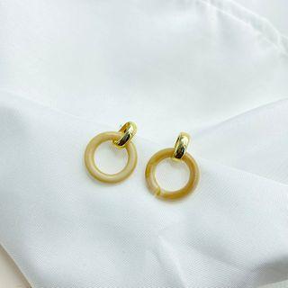 Image of Acrylic Hoop Dangle Earring 1 Pair - 925 Silver Stud Earring - Gold & Beige - One Size