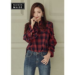 Tie-Neck Frilled Tartan-Plaid Top 1062157078
