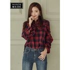 Tie-Neck Frilled Tartan-Plaid Top 1596