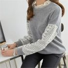Frilled-Neck Lace-Trim Knit Top 1596