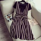 Set: Short-Sleeve T-Shirt + Striped Pinafore Dress 1596
