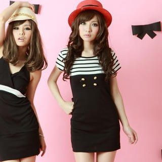 "Buy ZOO Short-Sleeve ""Stripe & Button"" Dress 1023014287"