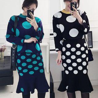 Set: Dotted Knit Top + Ruffle-Hem Knit Skirt 1055741023