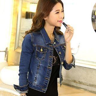 Slim-Fit Cropped Denim Jacket 1063166903