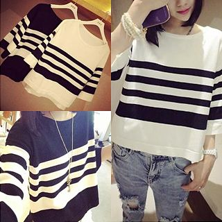 Boxy Striped Crop Top 1035391705
