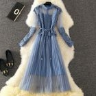 Set: Crochet Lace Panel Long-Sleeve A-Line Dress + Strappy Dress 1596