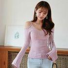 Cutaway-Shoulder Rib-Knit Top 1596