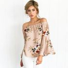 Off-Shoulder Bell-Sleeve Long-Sleeved Floral Print Loose-Fit Chiffon Blouse 1596