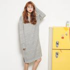 Long-Sleeve Slit-Side Sweater Dress 1596