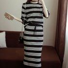 Set: Striped Elbow-Sleeve Knit Top + Midi Skirt 1596