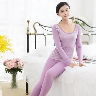 Pajama Set : Lace-Trim Shaper Warmer Top + Pants