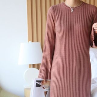 Bell-Sleeve Ribbed Knit Dress 1063231025