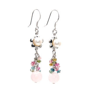 Image For Pearl Tourmaline Rose Quartz Drop Earrings