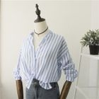 Pinstriped Stand-collar Linen Cotton Blouse 1596