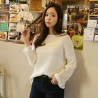 Boat-Neck Ribbed Knit Top 1596