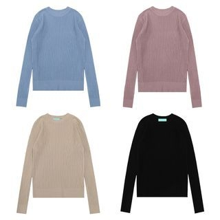 Crew Neck Ribbed Sweater 1063925633