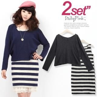 Buy Daily Pink Set: Long-Sleeve Top + Striped Tank Dress 1022546414