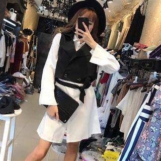 Set: Vest + Long-Sleeve Shirtdress 1062635141