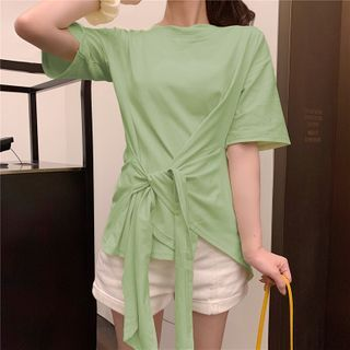 Image of Asymmetric Hem Tie-Front Short-Sleeve T-Shirt