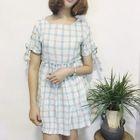 Short-Sleeve Cutout Check Dress 1596