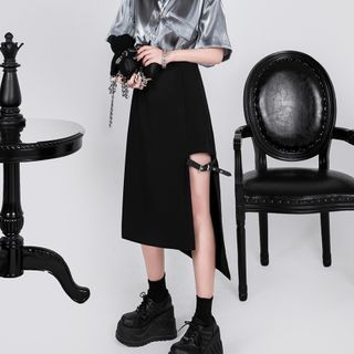 Image of Belted A-Line Midi Skirt