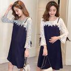 Maternity Lace Panel Long-Sleeve Dress 1596