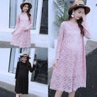 Long-Sleeve Lace Maternity Dress 1596