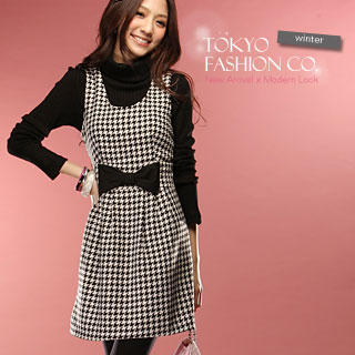 Buy Tokyo Fashion Bow-Accent Houndstooth Vest Dress 1022156649