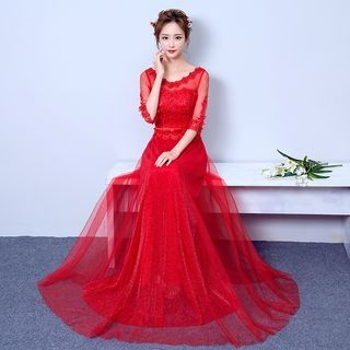 Lace Panel Elbow-Sleeve Evening Gown 1055166565