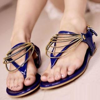 Buy Kvoll Chain-Detail Patent Sandals 1022892424