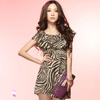 Buy Tokyo Fashion Ruffle-Collar Animal-Print Dress 1022937092