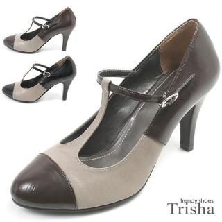 Picture of Trisha Two-Tone T-Strap Pumps 1014348302 (Pump Shoes, Trisha Shoes, Korea Shoes, Womens Shoes, Womens Pump Shoes)