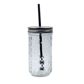 Image of Glass Drinking Cup with Straw As Shown In Figure - One Size