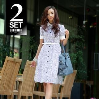 Buy Vanilla French Set: Shirtdress + Belt 1022796833