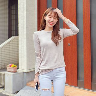 Long-Sleeve Crew-Neck Ribbed T-Shirt 1058573780