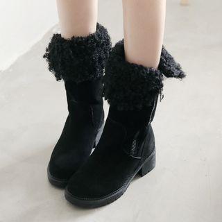 Genuine-Leather Paneled Short Boots