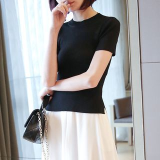 Ribbed Slim-Fit Short-Sleeve Knit Top 1060003393