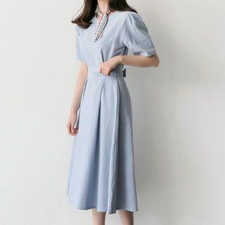 Длинное льняное платье для беременных 457