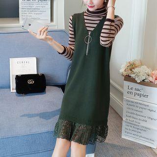 Set: Stripe Long-Sleeve Knit Sweater + Lace Panel Sleeveless Dress 1062369484