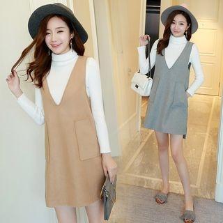 Maternity Set: Turtleneck Long Sleeve Knit Top + Pinafore Dress 1055749380